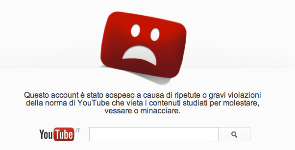 Canale youtube cancellato