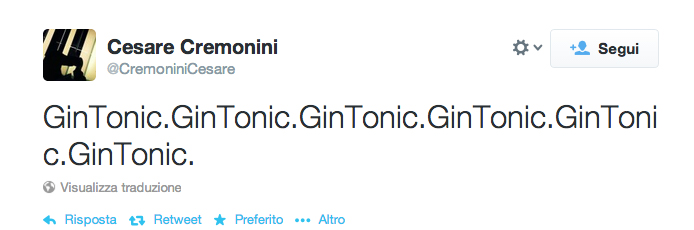Il primo tweet di Cesare Cremonini