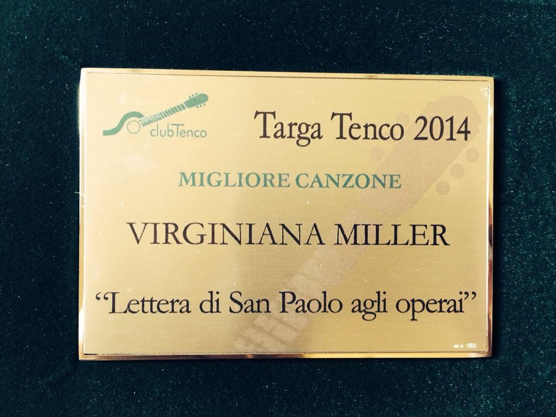 Targa Tenco ai Virginiana Miller