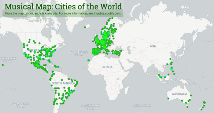 mappa spotify canzoni più ascoltate