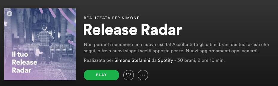 Il mio Release Radar di Spotify