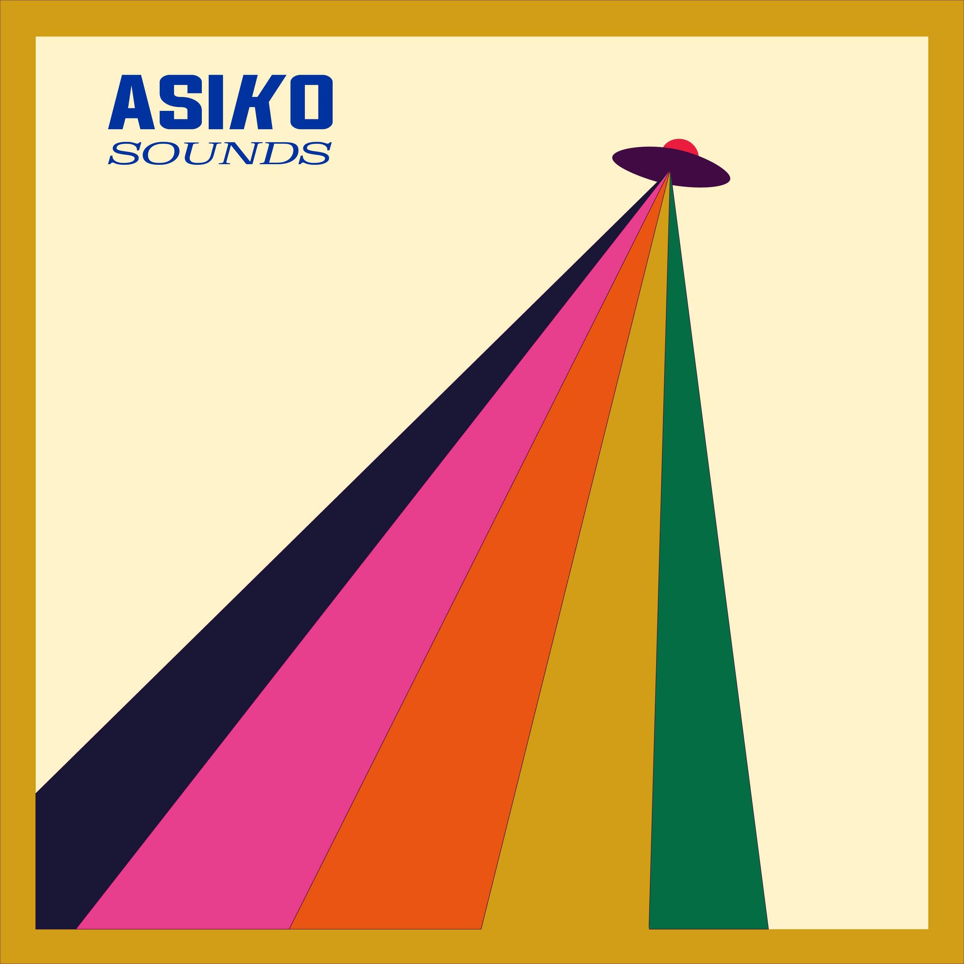 Il logo di Asiko Sounds, dove al raggio di luce mista che si disperde è aggiunta una piccola navicella