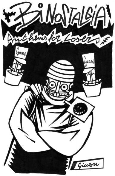 Disegno originale per la copertina dell'audiocassetta Anthem for Losers di Bi Nostalgia