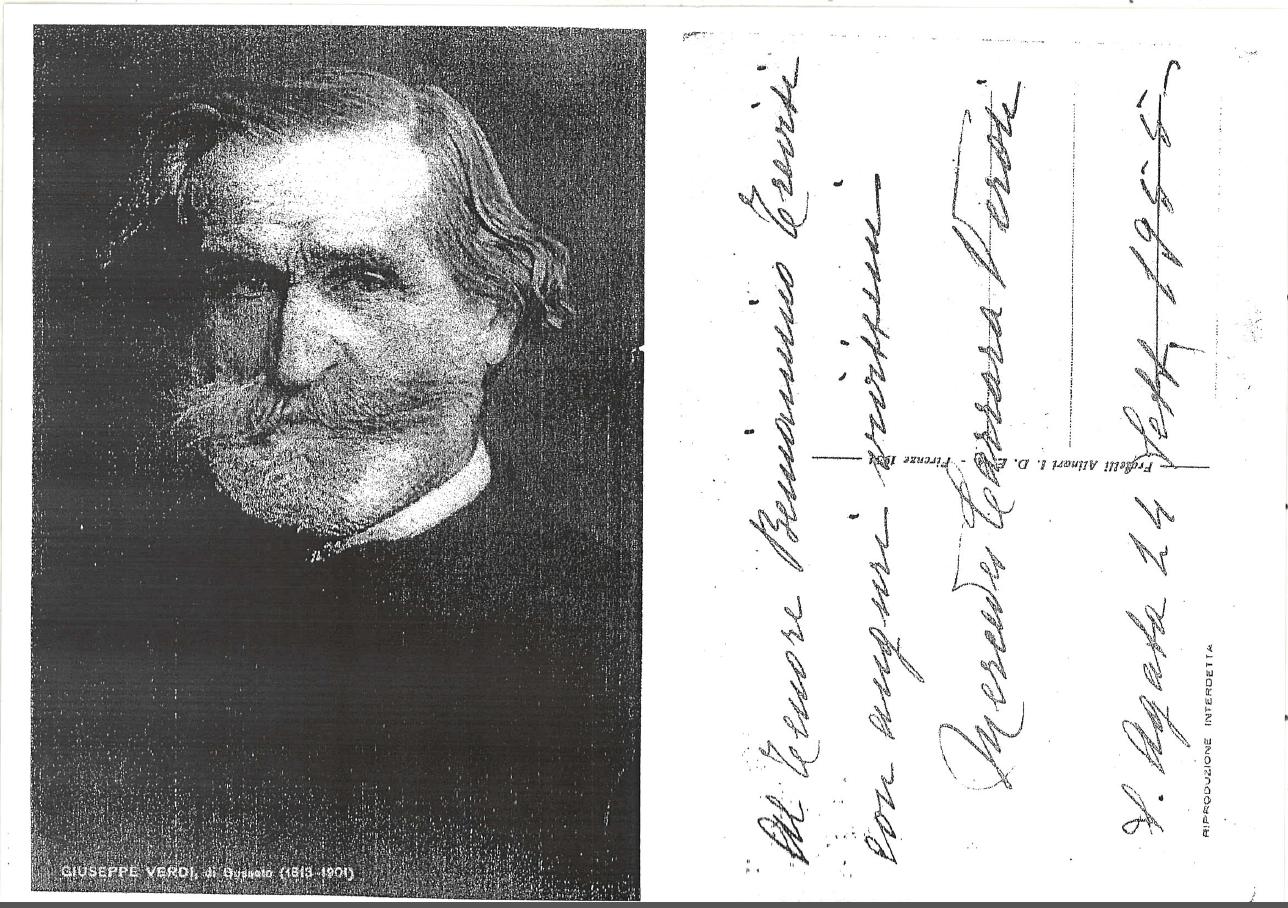 Cartolina dedicata a Beniamino Trevisi da parte della nipote di Verdi