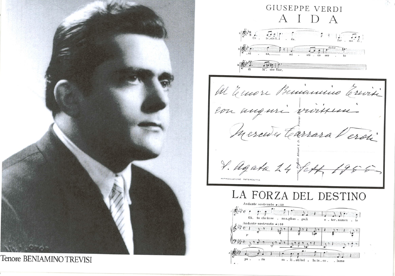 Cartolina per Beniamino Trevisi da parte della nipote di Verdi