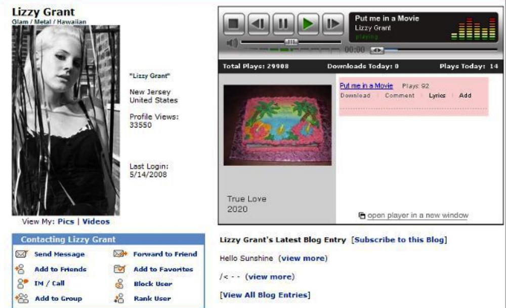 Lana Del Rey su MySpace