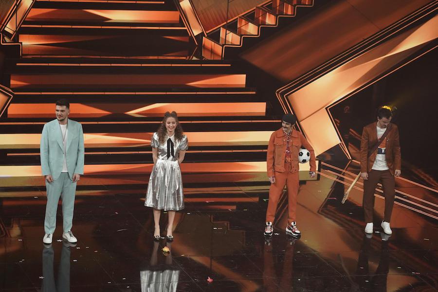 I quattro giovani semifinalisti della serata: da sinistra Gaudiano, Elena Faggi, Avincola, Folcast - Foto Andrea Bracaglia©Kikapress.com