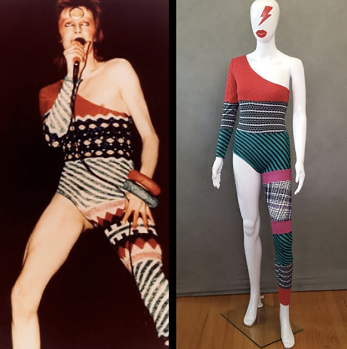"""Il costume di David Bowie disegnato ai tempi da Kansai Yamamoto per il tour di """"Aladdin Sane"""""""