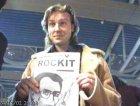 giulio estemo degli estra, allo stand di rockit al MEI 2001, a faenza.