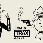 Due adesivi di Trax, tra i progetti multimediali e grafici più caratteristici degli anni '80