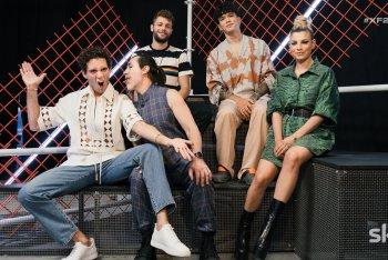 La squadra di X Factor 2021 (da sx a dx): Mika, Manuel Agnelli, Ludovico Tersigni, Hell Raton, Emma